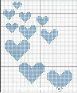 сердечки спицами разного размера