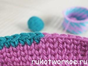 Аккуратная смена цвета при вязании крючком. Два цвета в полотне крючком
