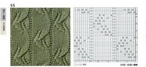 Японский узор спицами, схема. Японские листья_