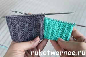 Резинка 1Х2 с платочным узором и резинка 2Х2 с платочным узором. Простые узоры спицами, схемы